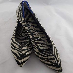 Rothy's Retired The Point Tan Blak Zebra Flats